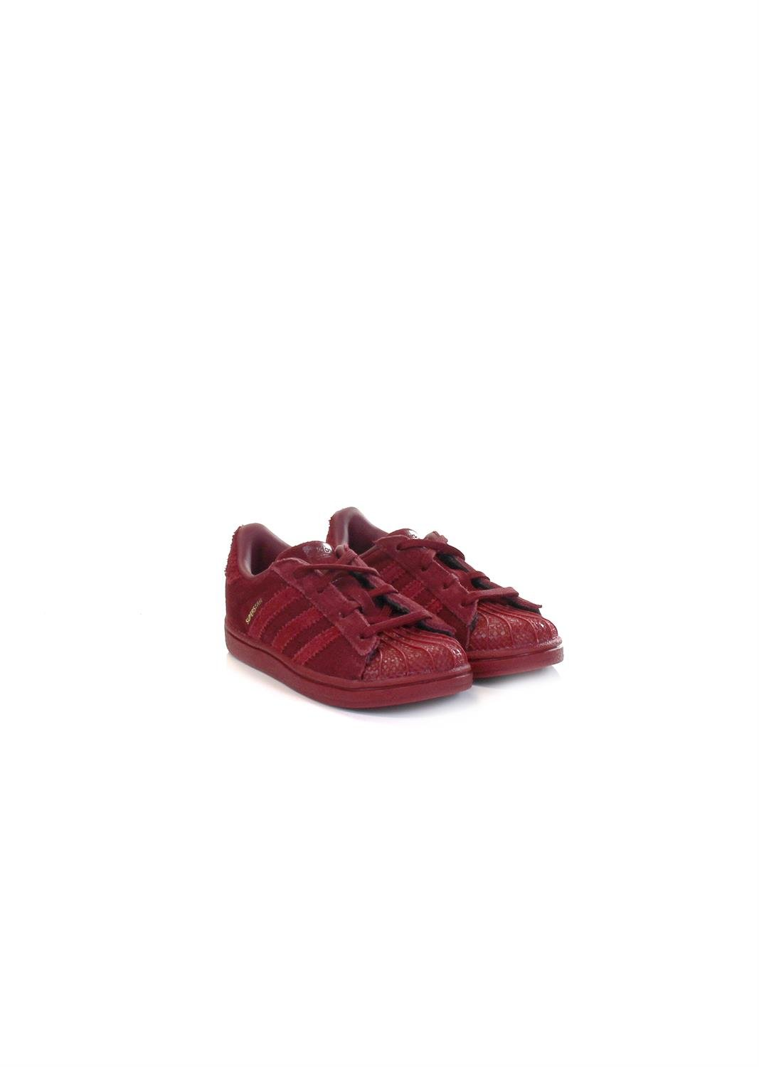 Scarpe kids ADIDAS SUPERSTAR in pelle e suede sintetico bordeaux CG3742