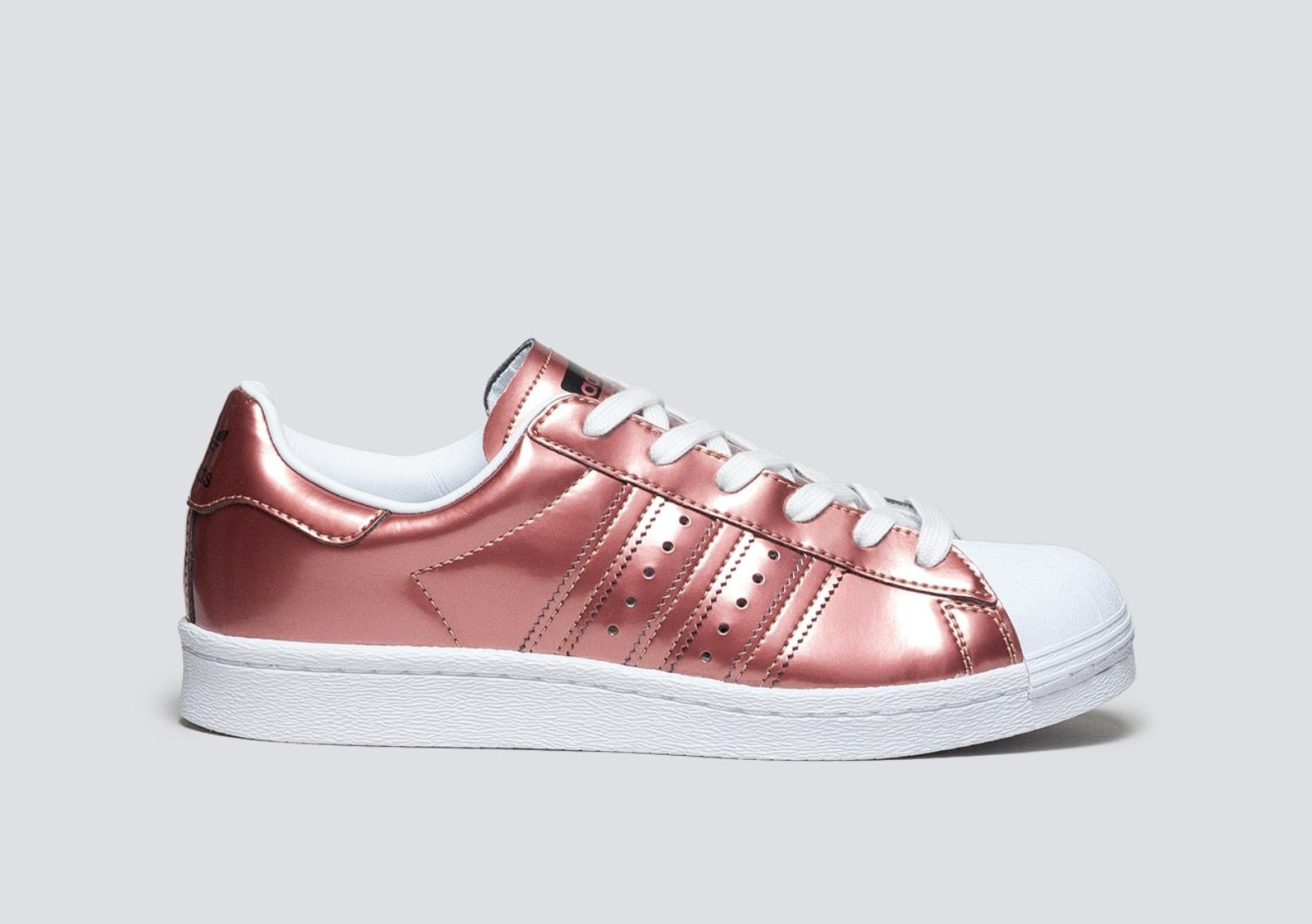 check out 1fe62 4fa9a Scarpe donna ADIDAS SUPERSTAR BOOST in pelle lucida rosa antico ...