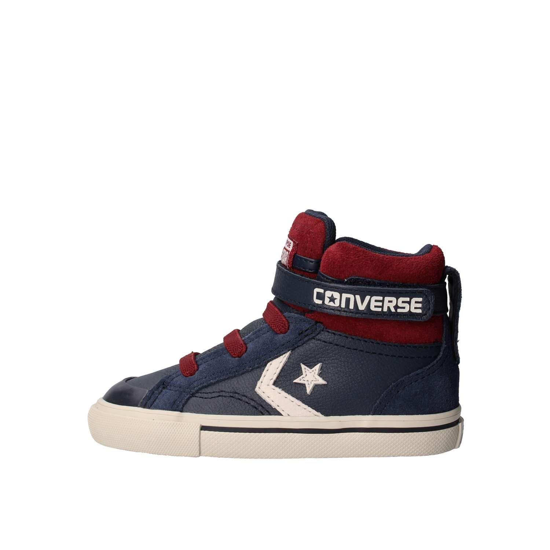 Scarpe alte Kids CONVERSE Pro Blaze TD in pelle blue e richiami rossi 758876C