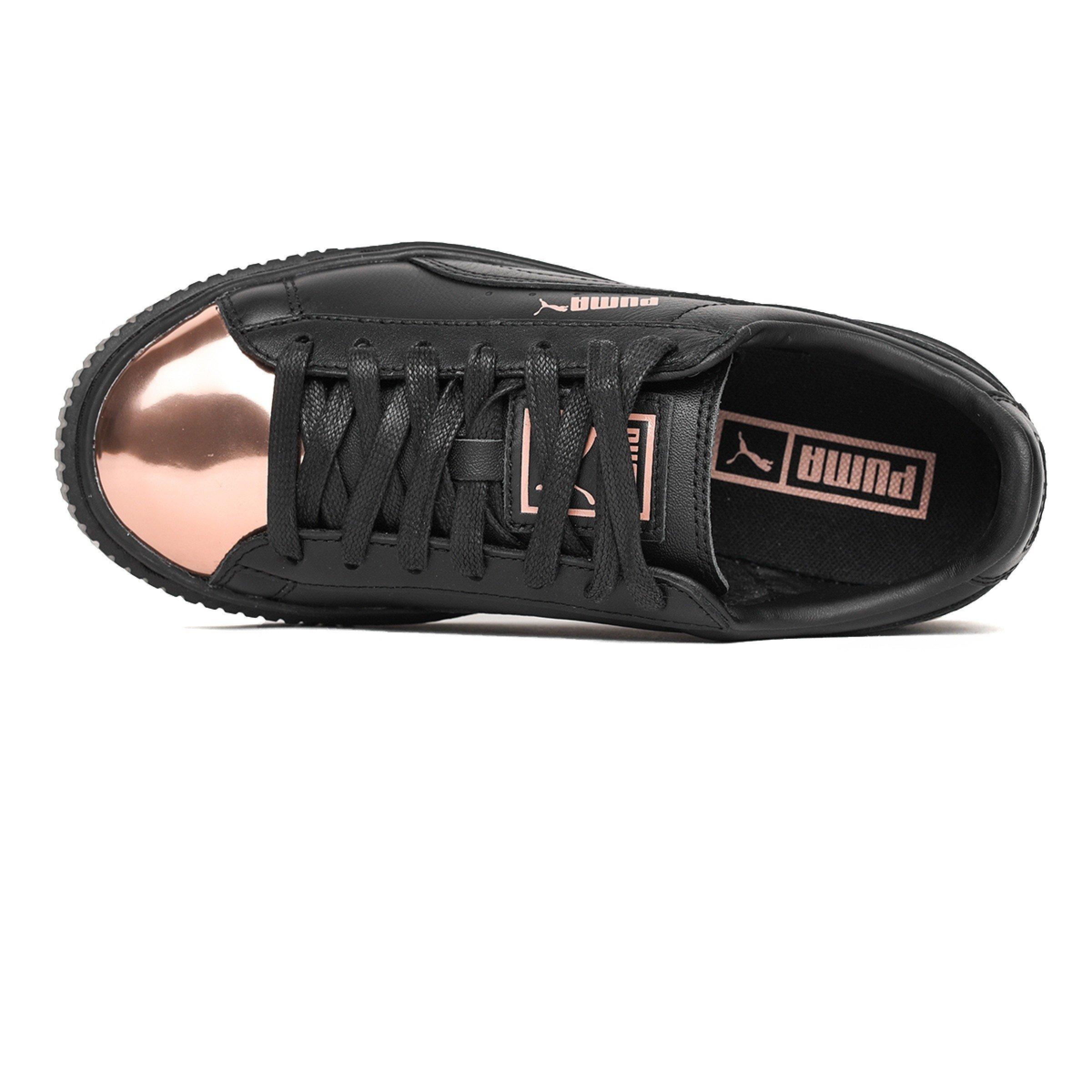 Scarpe PUMA Basket Platform Metallic in pelle nera e punta bronzo 366169 02