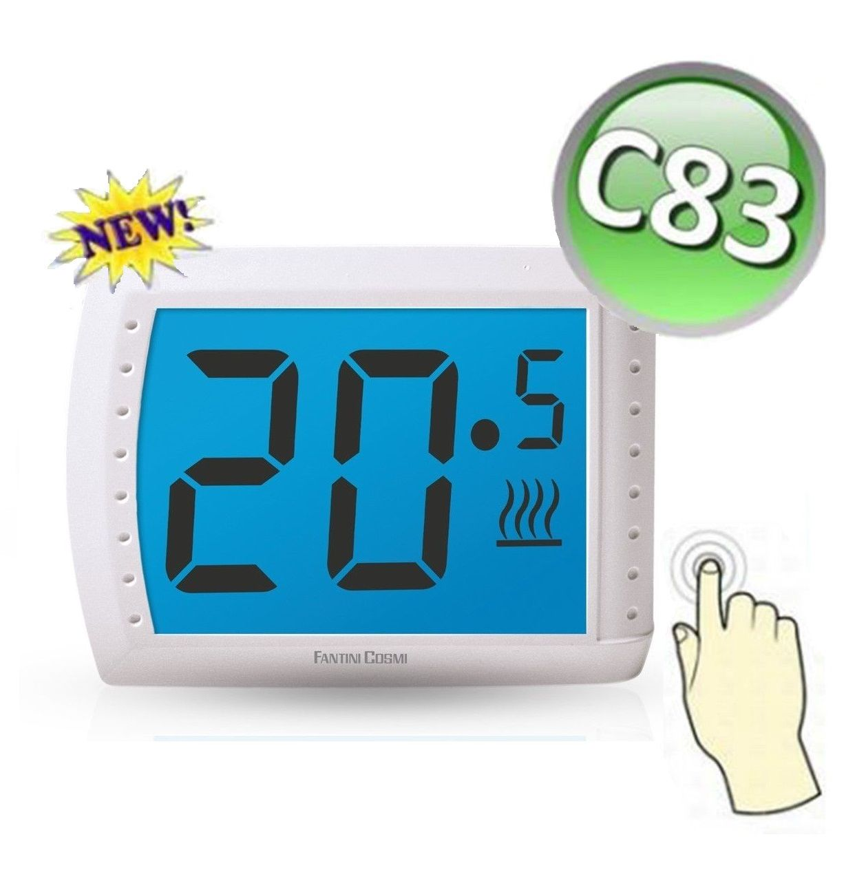 c83 termostato bianco touchscreen ambiente da parete a