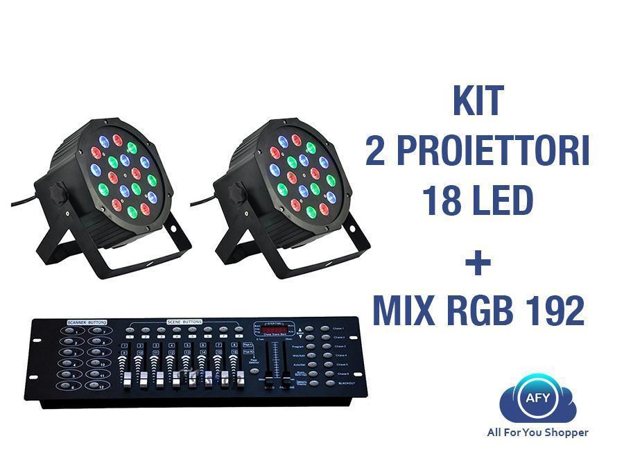 2 PAR LED FARO RGB 18 Watt STROBO WASH PROGRAMMABILE DMX + MIXER RGB 192!!!