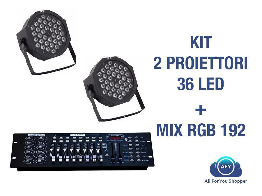 2 Par Led Faro Rgb 36 Led Strobo Wash Programmabile Dmx + Mixer Rgb 192!!!