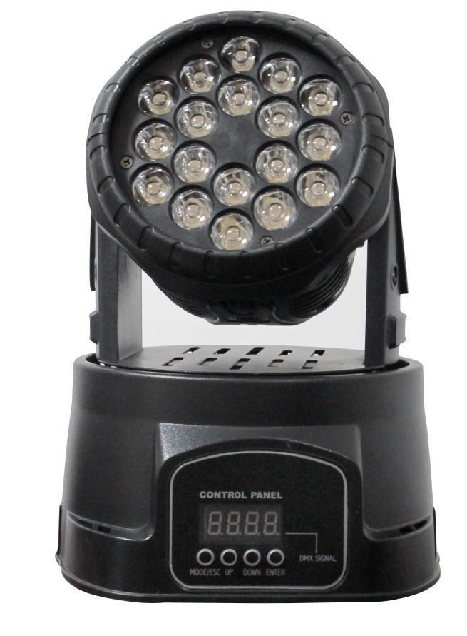 Proiettore Led Rgb Testa Mobile Rotante Effetti Disco Discoteca 18 Led Wash Dmx